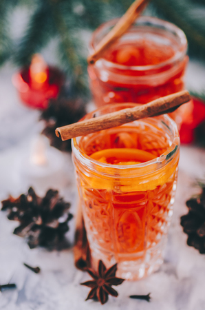 Christmas mulled wine on stone table