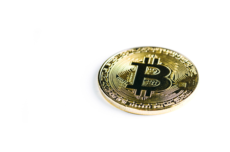 Bitcoin gold coin on white isolated background