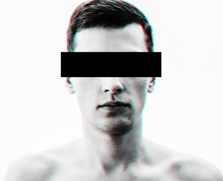 Abstract black and white portrait of the man with glitch effect