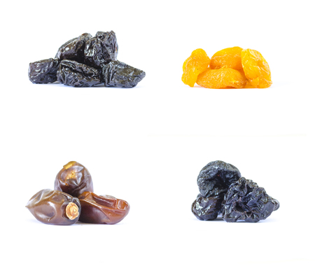 Dried fruits on white isolated background Stockfoto