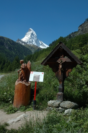 On trail nearby Matterhorn peak in Alps in Switzerland photo