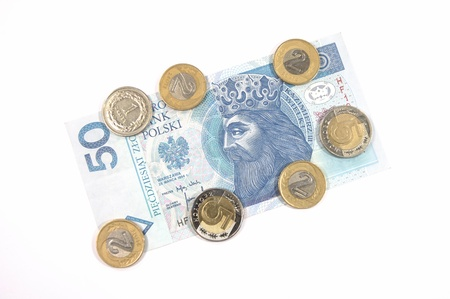 Money - polish currency 50 zloty banknote and coins photo