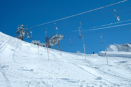 t ski: Drag lift on Hintertux glacier nearby Zillertal valley in Austria