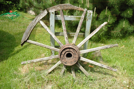devastated: Old devastated wooden wagon wheel standing in garden