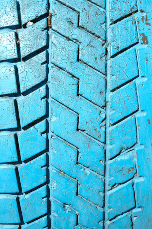 tyre tread: Old painted tyre tread bar close up Stock Photo