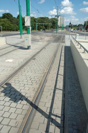 Poznan, Poland - July 13, 2014: Tram tracks on Matyi street in Poznan, Poland