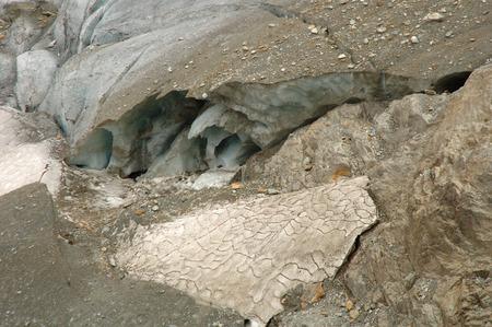crevasse: Glacier (Steigletscher) in valley nearby Sustenpass in Alps in Switzerland. Stock Photo