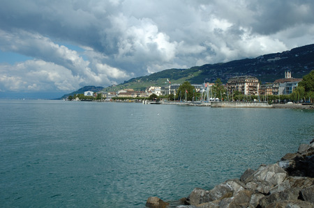 vevey: Vevey, Switzerland - August 16, 2014: Buildings in Vevey at Geneve lake in Switzerland