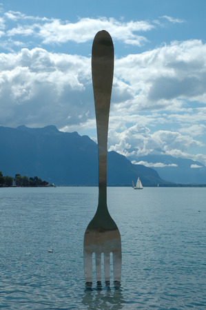 vevey: Vevey, Switzerland - August 16, 2014: Big fork in water in Vevey at Geneve lake in Switzerland