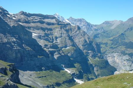 jungfraujoch: Peaks nearby Jungfraujoch pass and Kleine Scheidegg in Alps in Switzerland