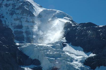 jungfraujoch: Glacier nearby Jungfraujoch pass and Kleine Scheidegg in Alps in Switzerland