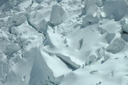 jungfraujoch: Snow on glacier nearby Jungfraujoch pass in Alps in Switzerland Stock Photo