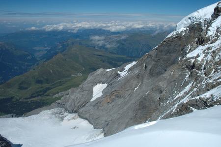 jungfraujoch: View from Jungfraujoch pass towards Kleine Scheidegg in Alps in Switzerland