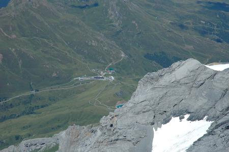 crevasse: View from Jungfraujoch pass towards Kleine Scheidegg in Alps in Switzerland