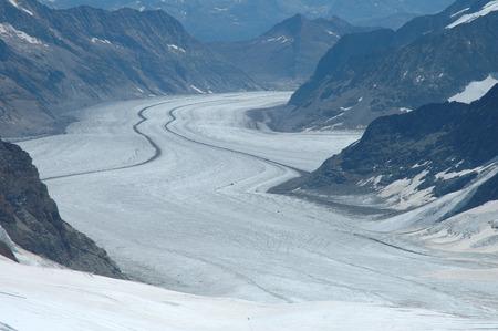 crevasse: View from Jungfraujoch pass on glacier Aletschgletscher in Alps in Switzerland