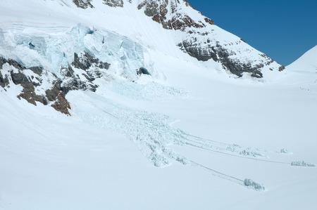 jungfraujoch: Ice, snow and avalanche nearby Jungfraujoch pass in Alps in Switzerland Stock Photo