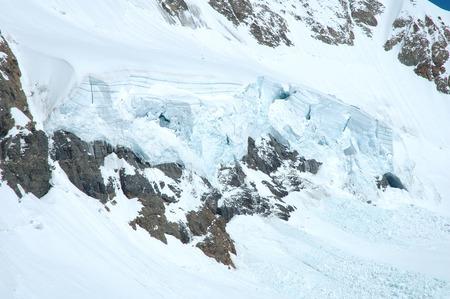 jungfraujoch: Ice and snow nearby Jungfraujoch pass in Alps in Switzerland Stock Photo