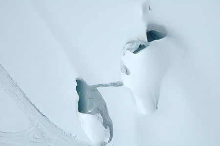 crevasse: Crevasse in glacier nearby Jungfraujoch pass in Alps in Switzerland