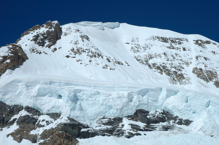 monch: Snow and ice on Monch mountainside nearby Jungfraujoch in Alps in Switzerland Stock Photo