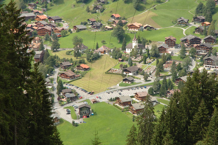 cable car: Cable car station in Grindelwald city in Alps in Switzerland