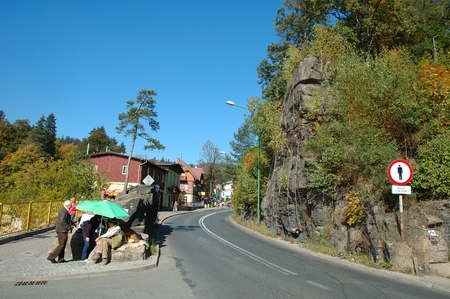 karkonosze: Szklarska Poreba, Poland - October 4, 2014: Unidentified people on main street in Szklarska Poreba resort in Karkonosze mountains in Poland.