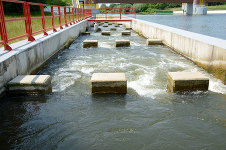 overflow: Overflow at weir on Odra river