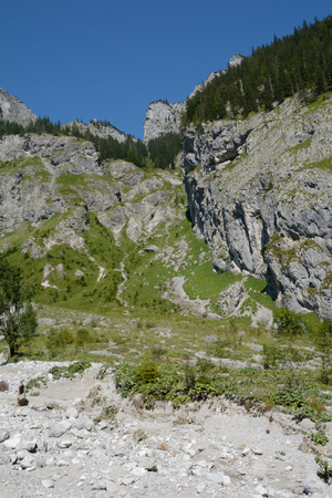 mountainside: Rocky mountainside in Wimbachtal valley in Alps in Germany Stock Photo