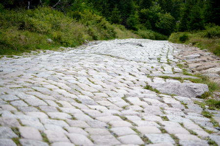 cobblestone road: Bumpy cobblestone road. Shallow depth of field