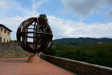vinci: Vinci, Italy - September 7, 2016: Sphere in Vinci city in Tuscany, Italy where Leonardo Da Vinci was born.