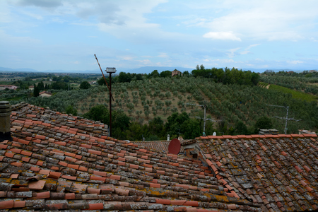 vinci: Tiled roofs in Vinci city in Tuscany, Italy where Leonardo Da Vinci was born. Editorial