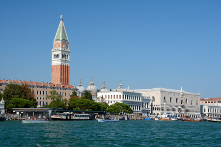 Venice, Italy - September 9, 2016: Grand canal and Campanile di San Marco tower in Venice, Italy. Unidentified people visible. Editorial