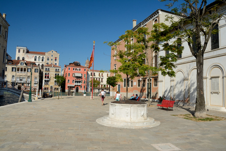 Venice, Italy - September 9, 2016: Campo S. Vio square at Grand Canal in Venice, Italy. Unidentified people visible.