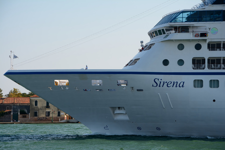 ship bow: Venice, Italy - September 9, 2016: Sirena cruise ship on canal in Venice, Italy. Unidentified people visible. Editorial