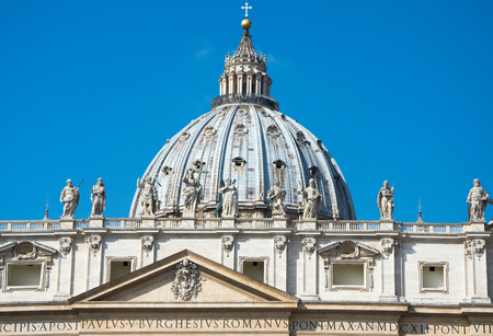 Rome, Italy - March 21, 2017: Dome of Saint Peters Basilica in Vatican