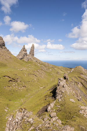 The Storr at Trotternish on the Isle of Skye in Scotland. Stock Photo
