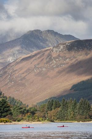 Goat Fell mountain & Kayaks on the Isle of Arran in Scotland.