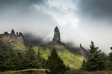 Storr Pinnacles near Portree on the Isle of Skye in Scotland.