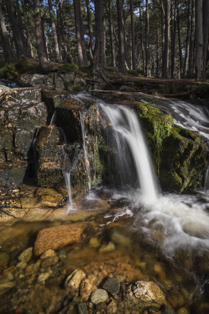strathspey: Waterfall at Glen Feshie in the Cairngorms National Park of Scotland.