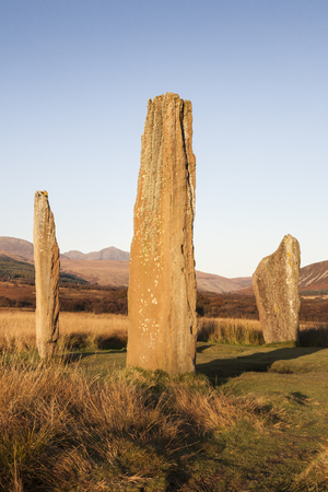 Machrie Moor Stone Circle on Arran in Scotland. Stock Photo