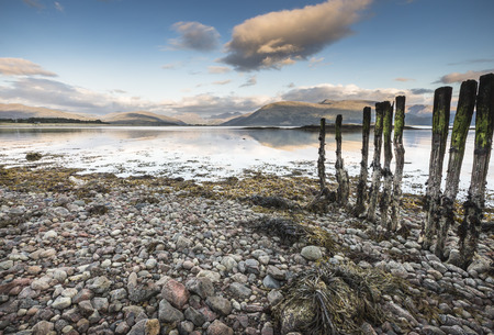 stakes: View across Loch Linnhe to Glencoe in Scotland. Stock Photo