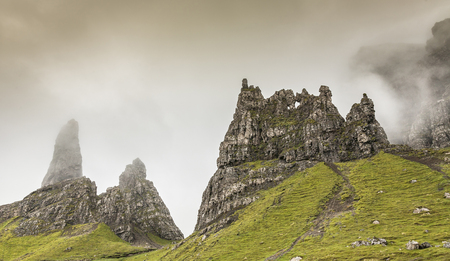 Misty Storr pinnacles at Trotternish on the Isle of Skye in Scotland.