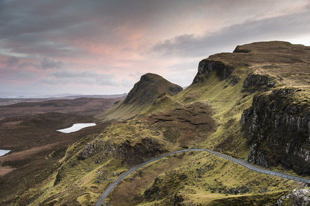 lochs: Quiraing Ridge and road at Trotternish on the Isle of Skye in Scotland.
