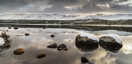 strathspey: Loch Morlich in Winter mood in the Cairngorms National Park of Scotland.
