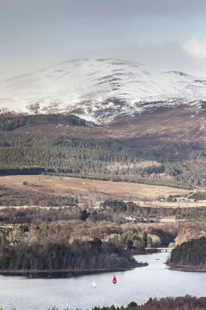 strathspey: View over Loch Insh in the Cairngorms National Park of Scotland.
