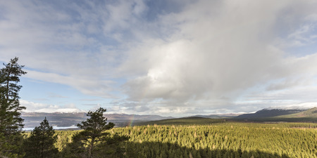 strathspey: View over Glen Feshie and Inshriach Forest  in Scotland. Stock Photo