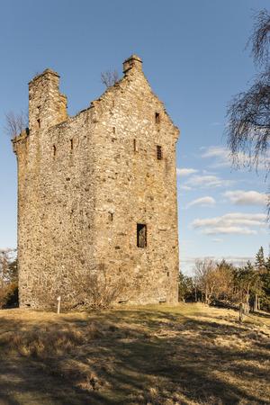 Invermark Castle at Glen Esk in Angus, Scotland.