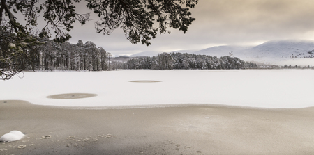 strathspey: Winter on Loch Mallachie in the Cairngorms National Park of Scotland. Stock Photo