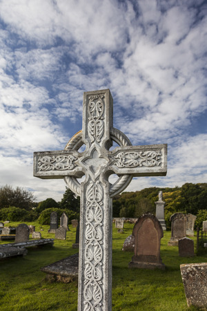 gaelic: Celtic Cross at the Gaelic Chapel in Cromarty, Scotland Stock Photo