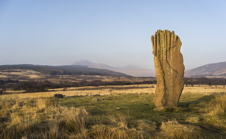 Machrie Moor standing stone on the Isle of Arran in Scotland. Stock Photo