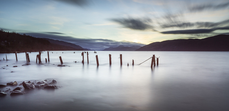 stakes: Loch Ness in the Scottish Highlands. Stock Photo